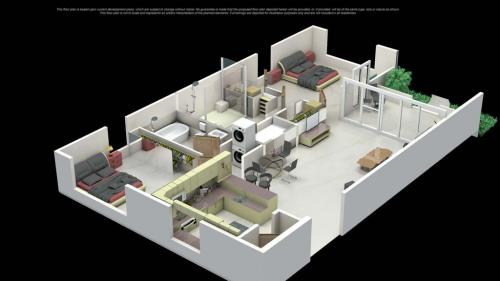 Here is a 3D floor plan of the condo. Each bedroom has a lot of privacy & a bath