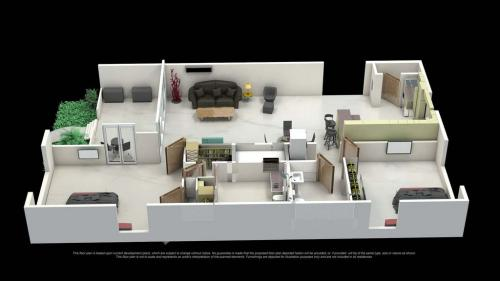 This 3D floor plan shows the spacious living room & kitchen.