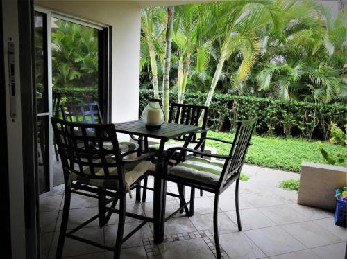 There is a lush tropical garden view from our lanai